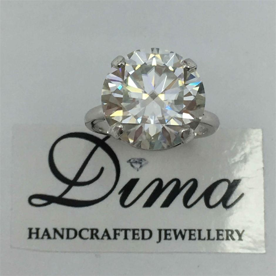 9ct White Gold, 9.65ct Moissanite Ring