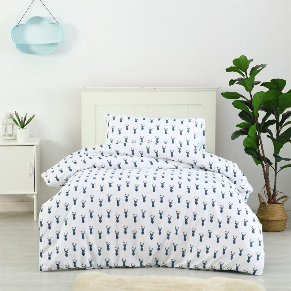 Dreamaker Printed Quilt Cover Set Little Deer - King Single Bed