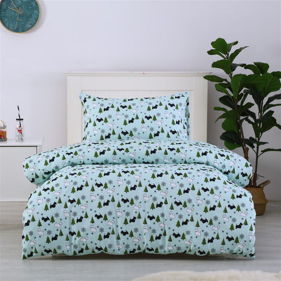 Dreamaker Printed Quilt Cover Set Scottie Dogs - Single Bed