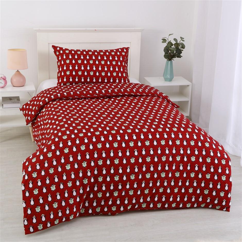 Dreamaker Printed Quilt Cover Set Red Penquins - King Single Bed
