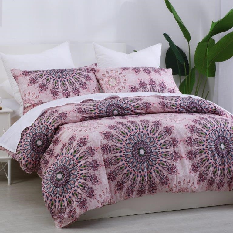 Dreamaker Printed Quilt Cover Set Desert Flower - Queen Bed