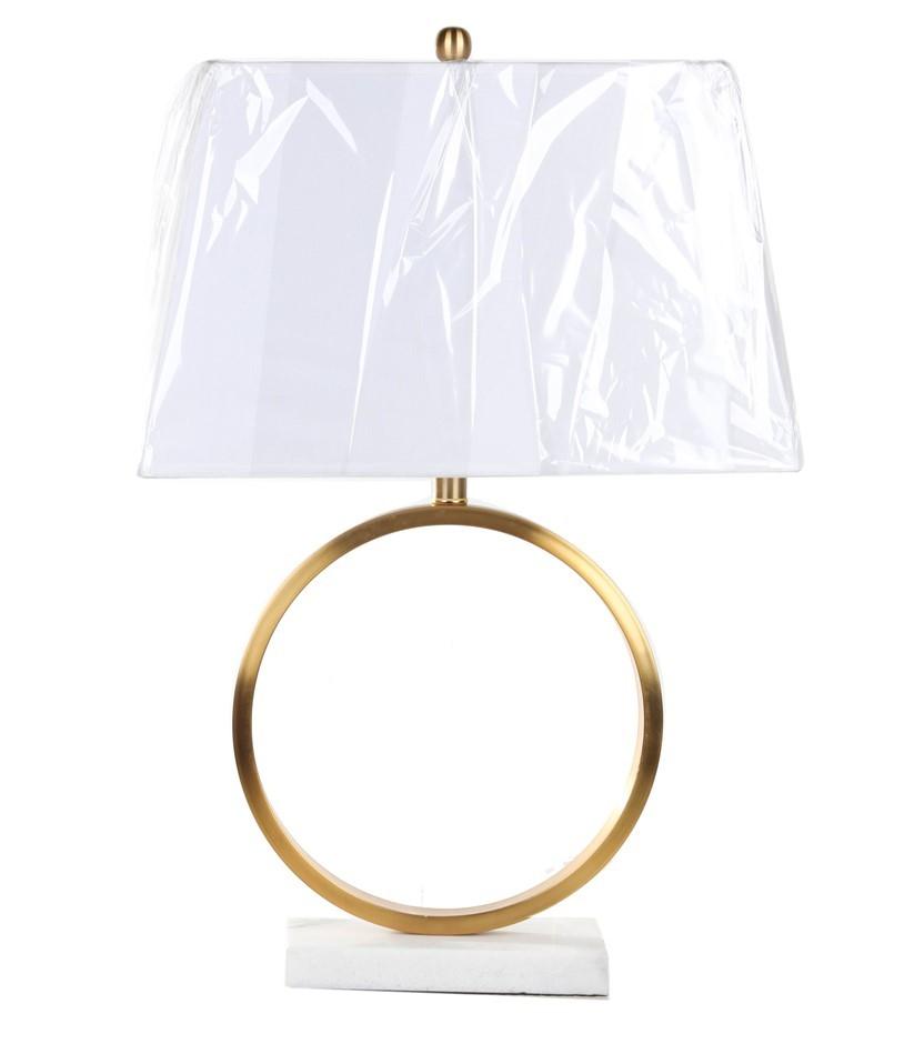 Pair BRIDGEPORT DESIGN Table Lamps, Stone Base, Bronzed Handle w/ Fabric Sh