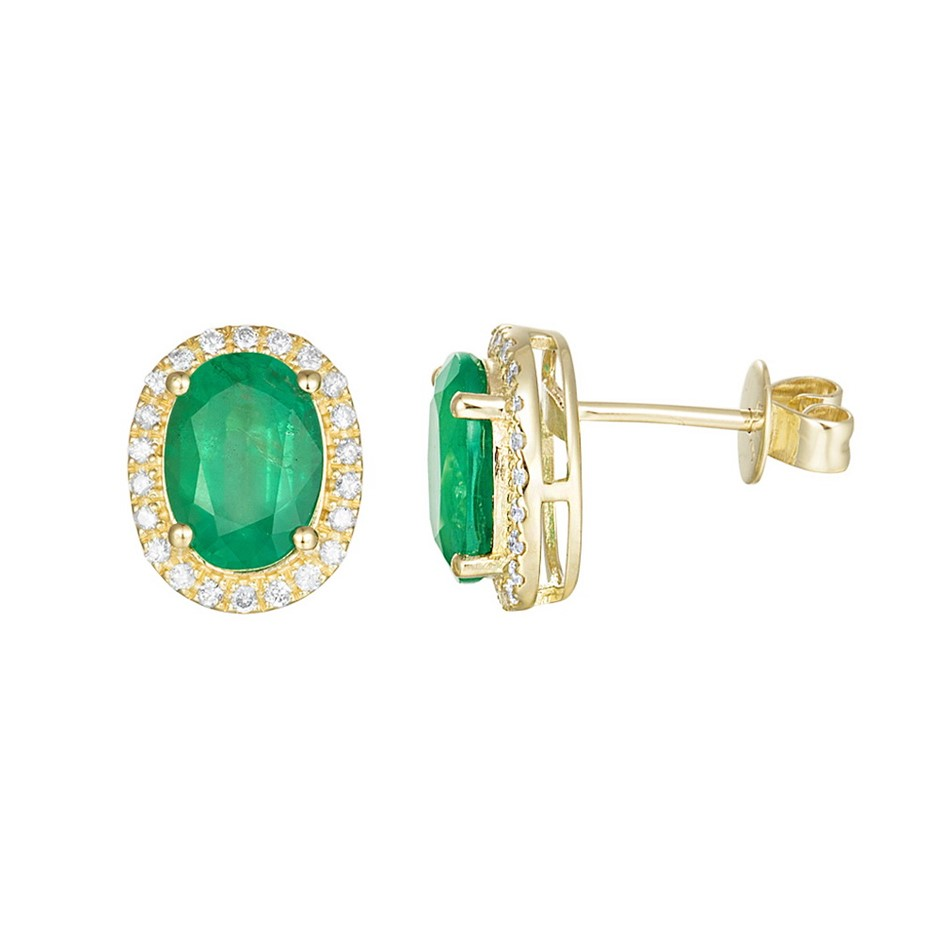 9ct Yellow Gold, 2.43ct Emerald and Diamond Earring