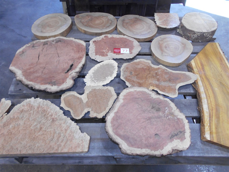 Pallet Lot : Timber Slices.. Red Coolibah, Bimble Box Burl, Osage Orange &
