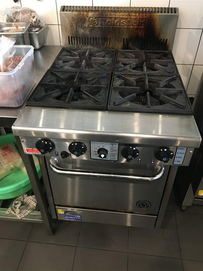 Goldstein PF420 4 Burner Single Door Commercial Gas Oven