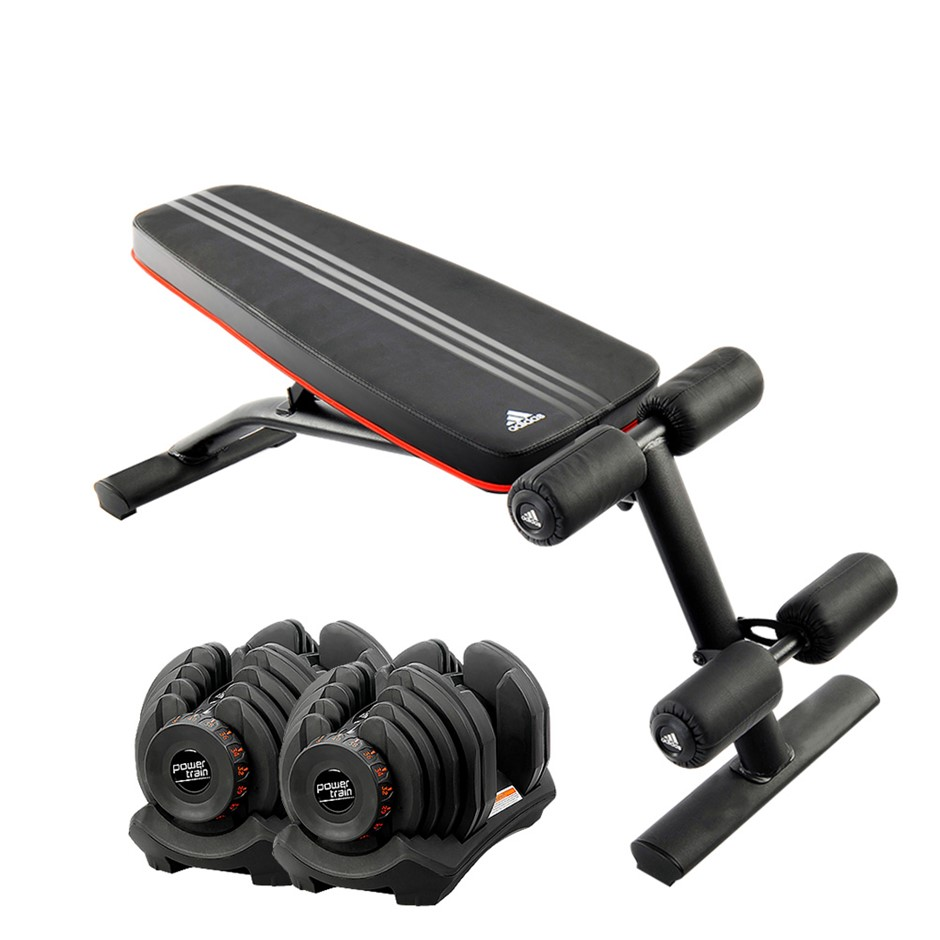 2x 40kg Powertrain Adjustable Dumbbells Home Gym with Adidas Bench