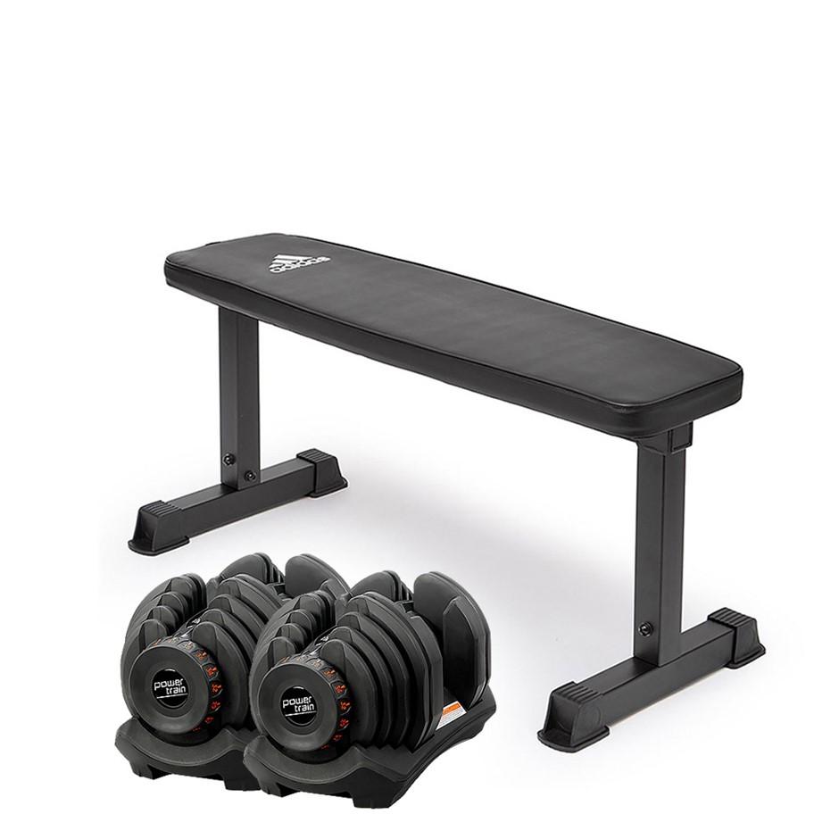 2x 40kg Powertrain Adjustable Dumbbells Home Gym w/10437 Adidas Bench
