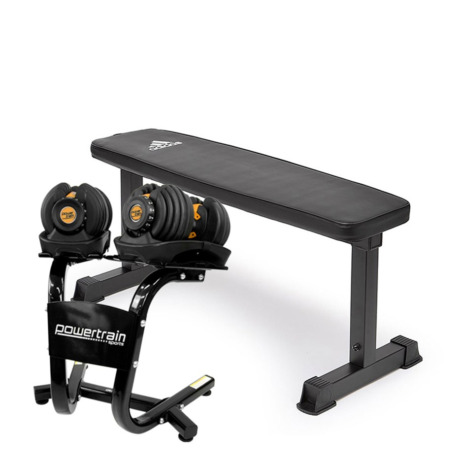 2x Powertrain 24kg Gold Adjustable Dumbbells w/ Stand and 10437 Bench