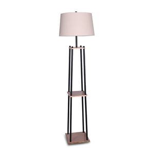 Metal Etagere Floor Lamp with Wood shelf