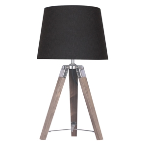 Wooden Tripod Table Lamp With Black Line