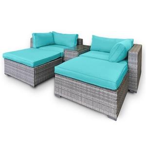 Rattan Outdoor 5pc Corner Chairs Ottoman