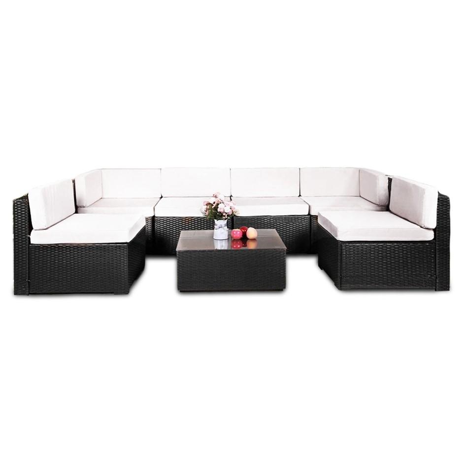 7pc Black PE Rattan Outdoor Sofa Furniture Garden Patio Set Black