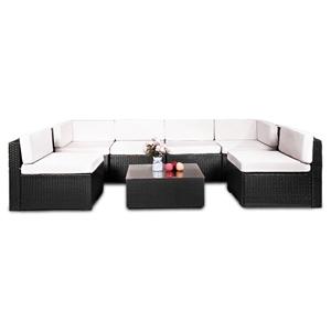 7pc Black PE Rattan Outdoor Sofa Furnitu