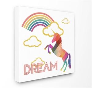 Dream Rainbow Golden Unicorn Canvas Wall