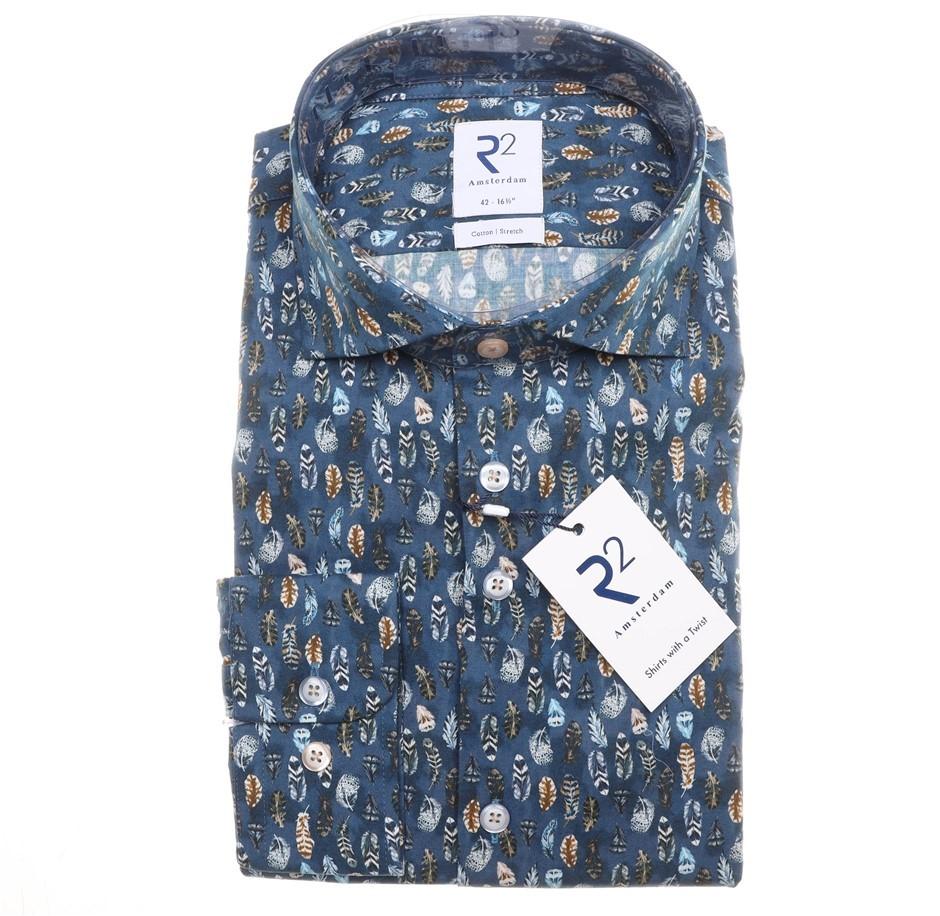R2 AMSTERDAM Men`s L/S Shirt, Size 44/ 17.5, Cotton, Blue/ Feather Pattern,
