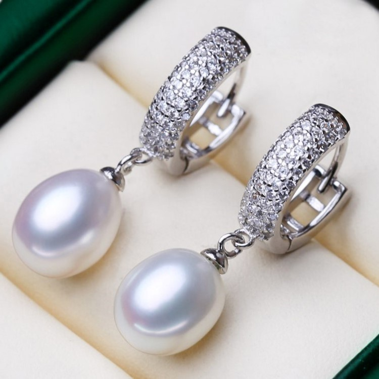 Freshwater Pearl & Simulated Diamond Drop Earrings - WITH JEWELLERY BOX