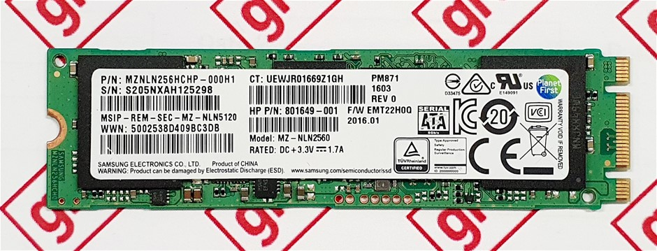 Samsung PM871 256GB M.2 NGFF 2280 Solid State Drive