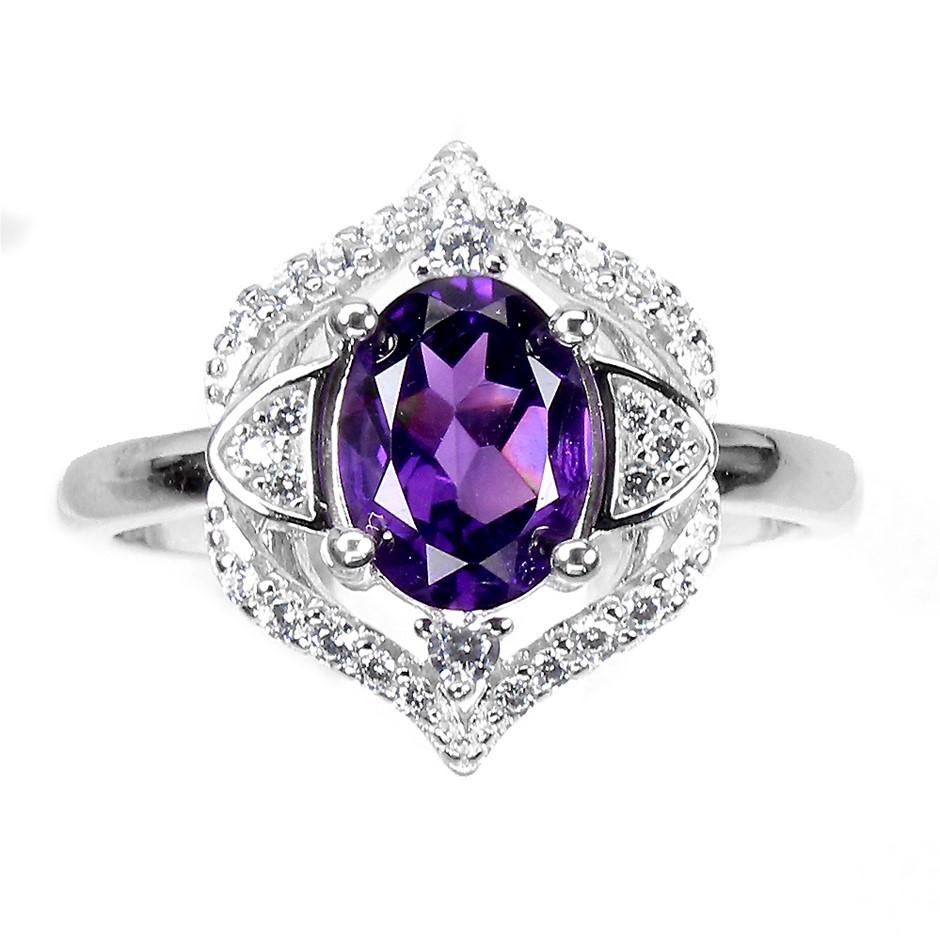 Beautiful Genuine Amethyst Ring.
