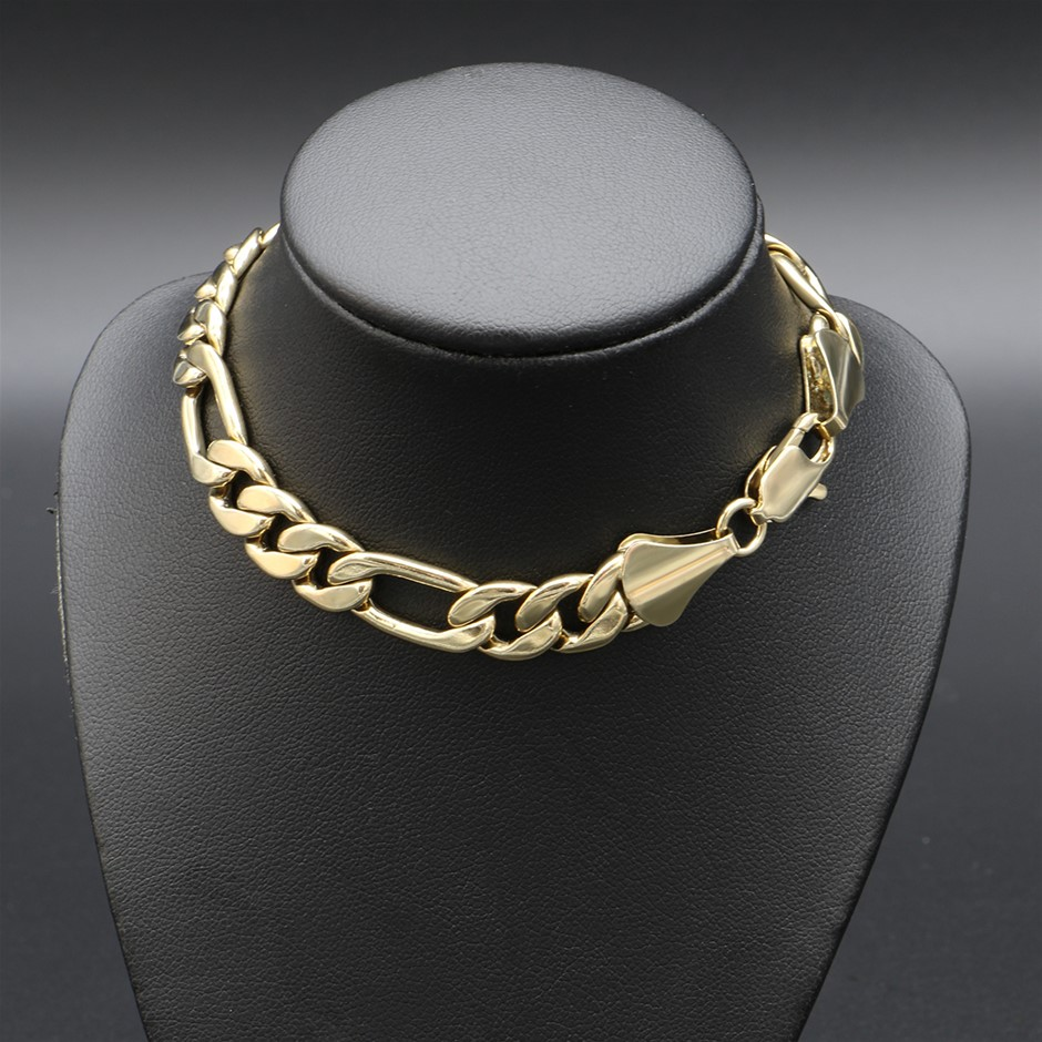 """18ct Yellow Gold Plated Figaro Chain Bracelet - 8.5"""""""