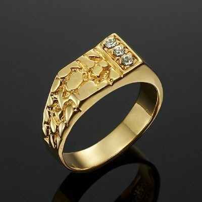 Stunning Yellow Gold Plated Men's Ring - US Size 13