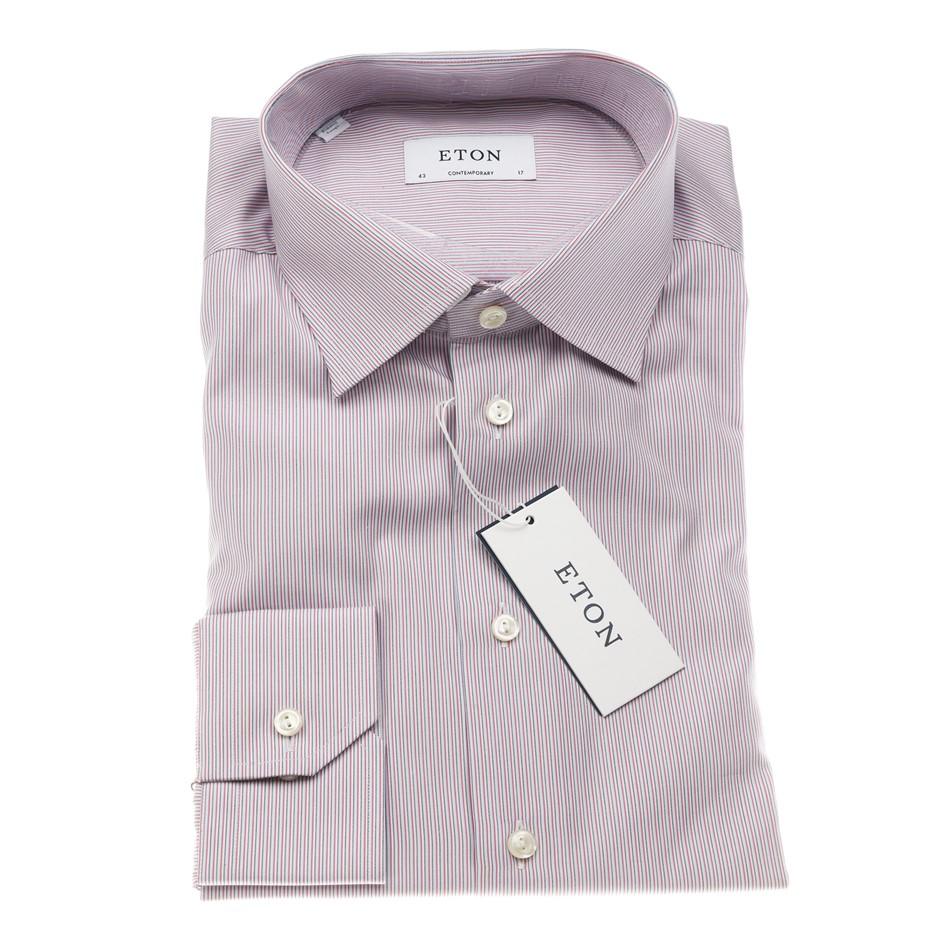 ETON Men`s Shirt, Size 39/15.5, Contemporary Fit, Cotton, Red/ Blue/ White