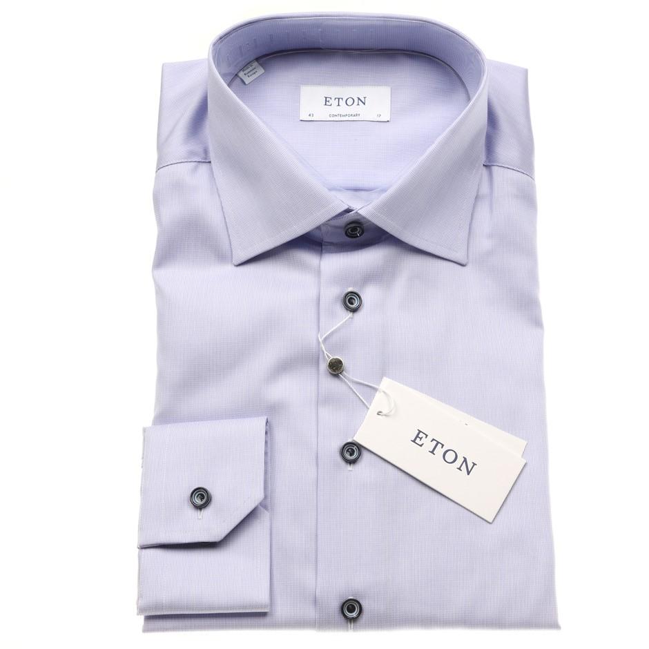 """ETON Men`s Shirt, Size 41/16, Cotton, Blue Check Pattern, RRP $275. N.B. """"T"""