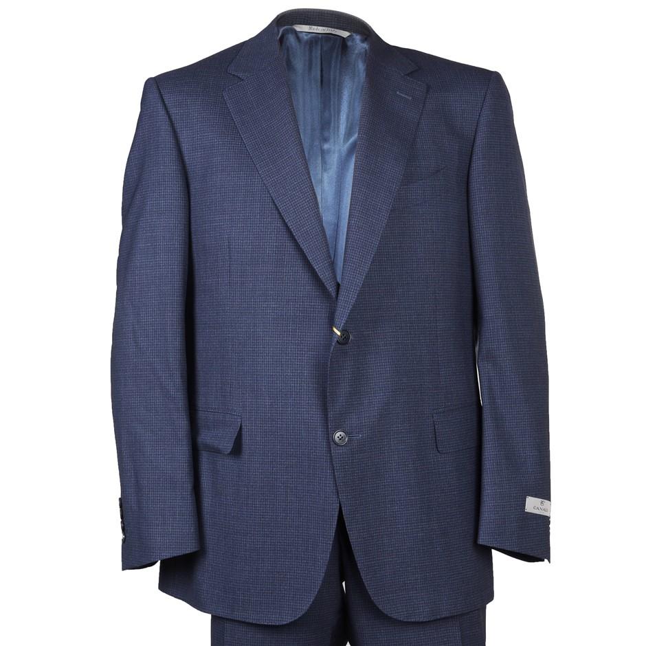 CANALI Men`s Suit, Size 54R, RRP $2695, 100% Wool, Colour: Blue Check Patte