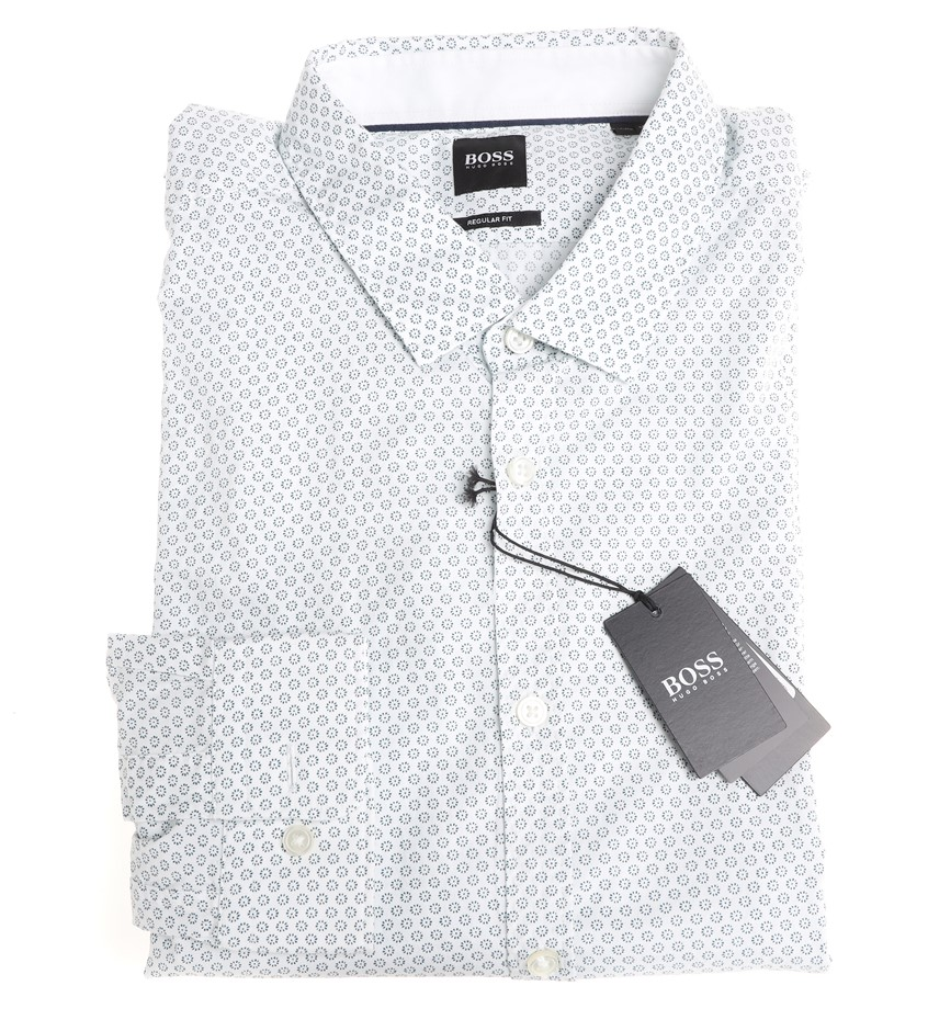 HUGO BOSS Men`s L/S Dress Shirt ,Size S, Regular Fit, RRP $199 Cotton, Colo