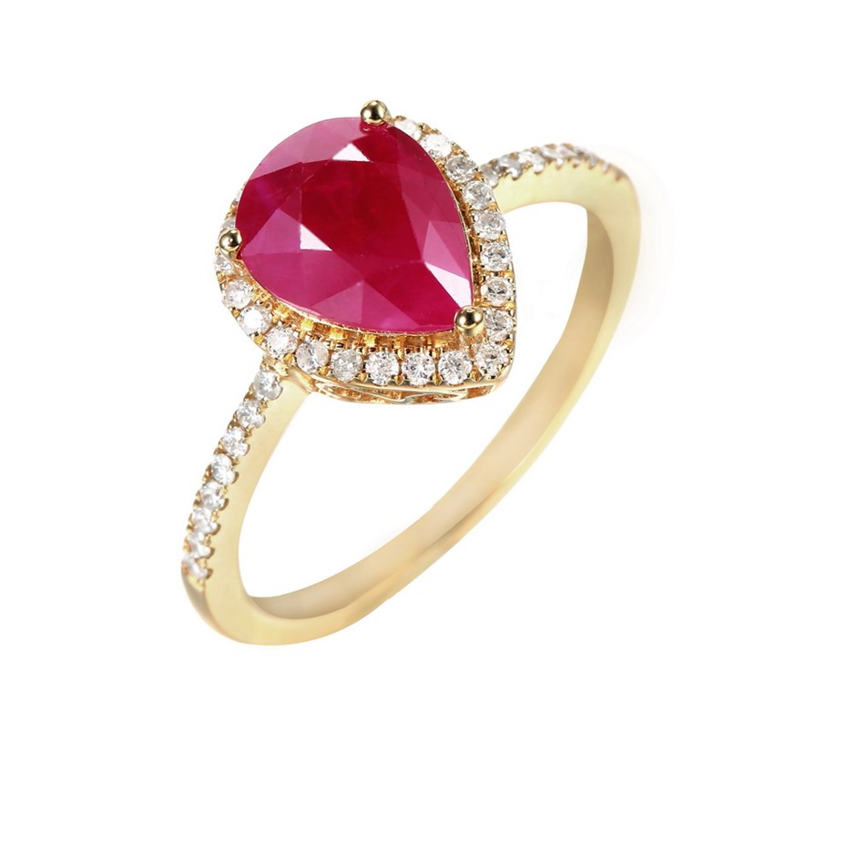9ct Yellow Gold, 2.20ct Ruby and Diamond Ring