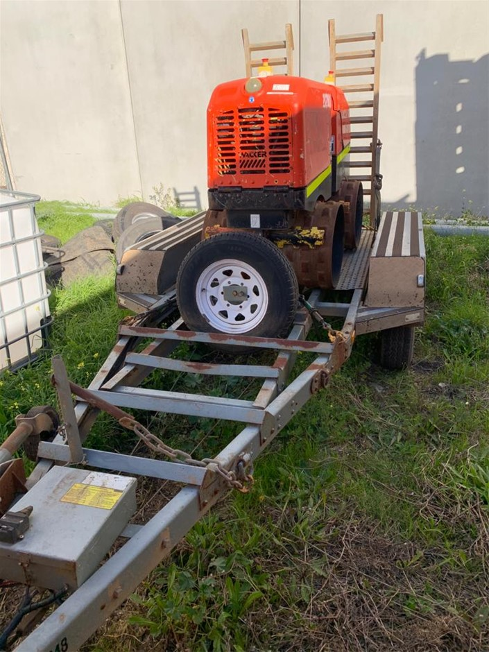 2012 PBL Tandem Plant Trailer with 2012 Wacker Neuson Trench Compactor