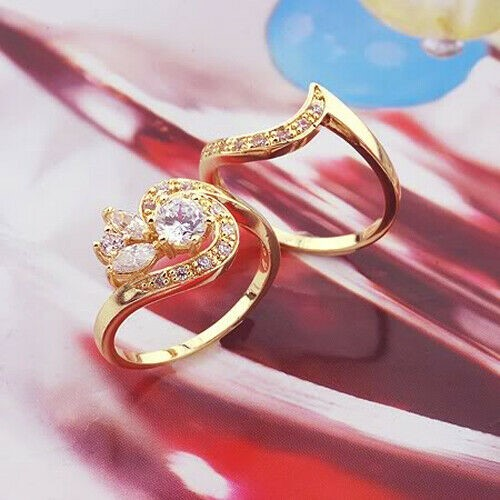 Classic 18k Rose Gold plated CZ Woman 2 Rings Sets size 8