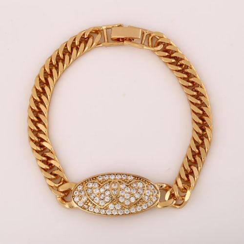 18k Yellow Gold plated Oval Pendant CZ Watch Belt Bracelet