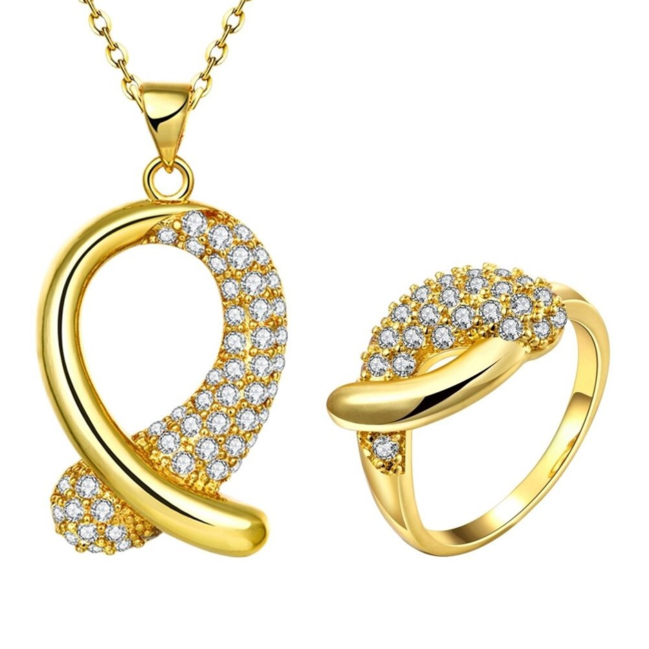 18CT Yellow Gold plated CZ Elegant Necklace Ring Sets