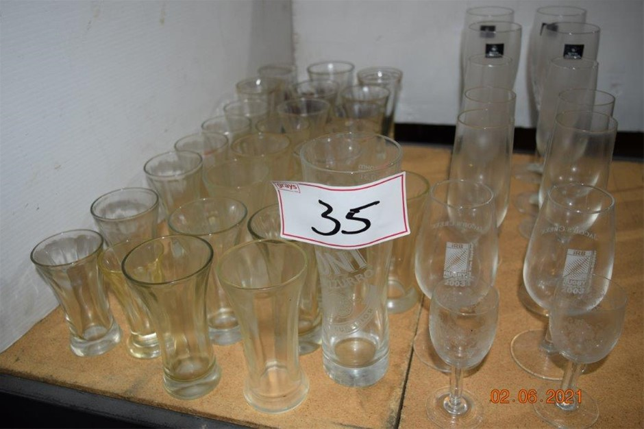 Lot of 41 Assorted Wine and Beer Glasses