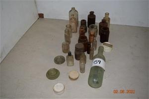 Lot of 25 Antique/Vintage Glass Bottles