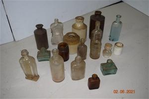 Lot of 16 Antique / Vintage Glass Bottle