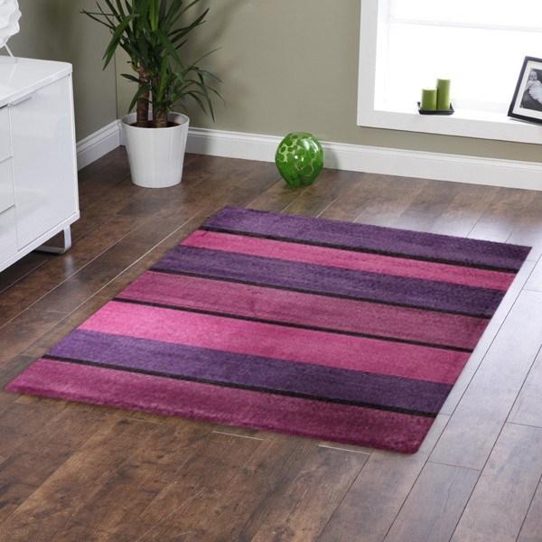 Modern Purple Pink Black Bands Rug