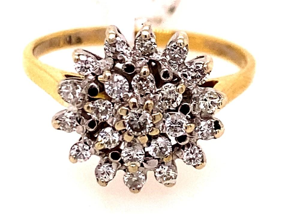 18ct yellow gold diamond cluster ring