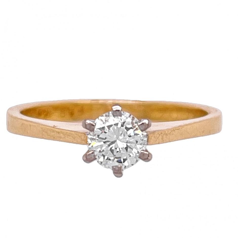 18ct yellow/white gold 0.40ct diamond solitaire ring