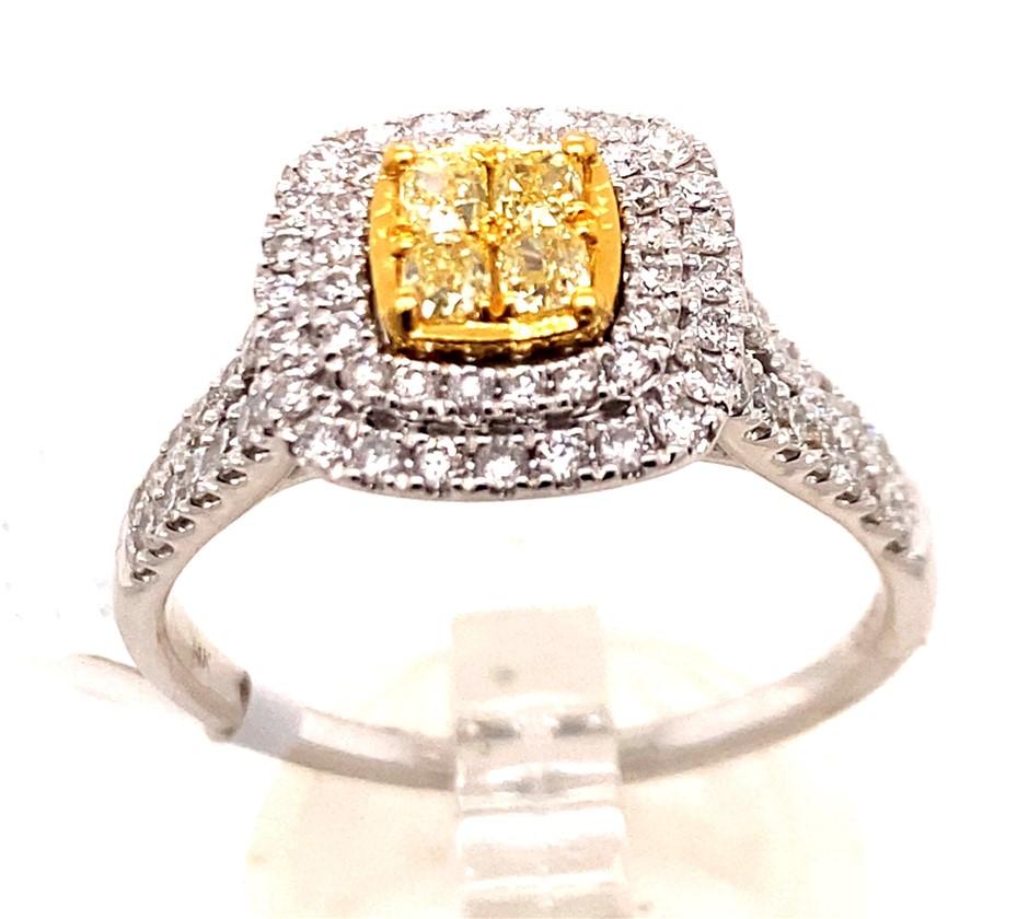 14ct white gold yellow/white diamond cluster ring