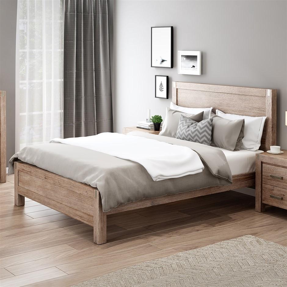 Bed Frame Queen Size in Solid Wood Veneered Acacia Bedroom Timber Slat