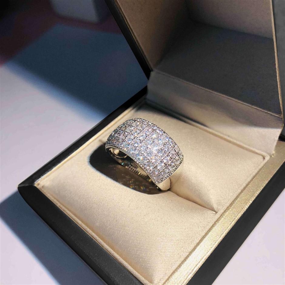 Statement Simulated Diamond Pave Ring - US Size 7
