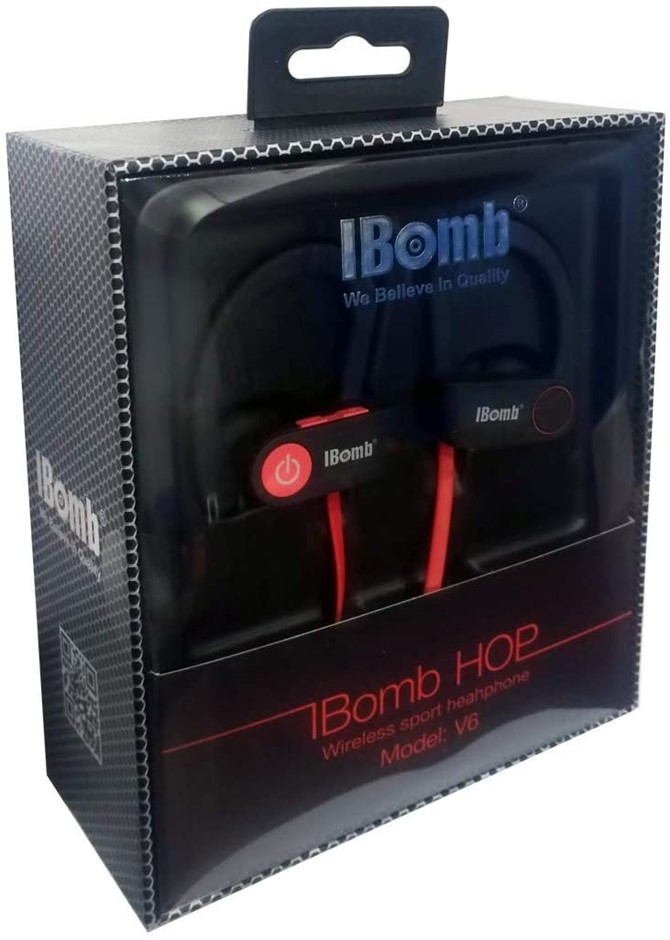 IBOMB V6 Bluetooth Wireless Sports Headphones, Red. Buyers Note - Discount