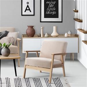 Artiss Fabric Dining Armchair - Beige