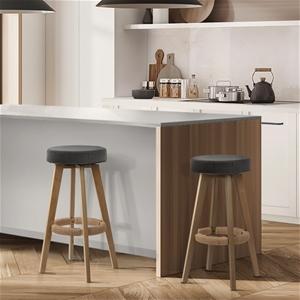 Artiss 2x Kitchen Bar Stools Wooden Swiv