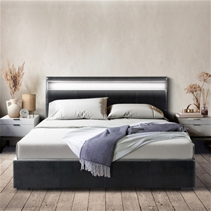 Artiss LED Bed Frame King Size Gas Lift