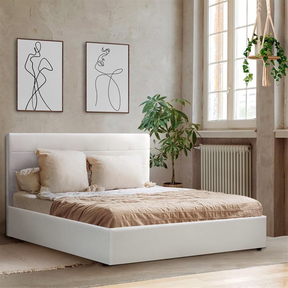 Artiss LISA Queen Size Gas Lift Bed Frame Base Storage Mattress White