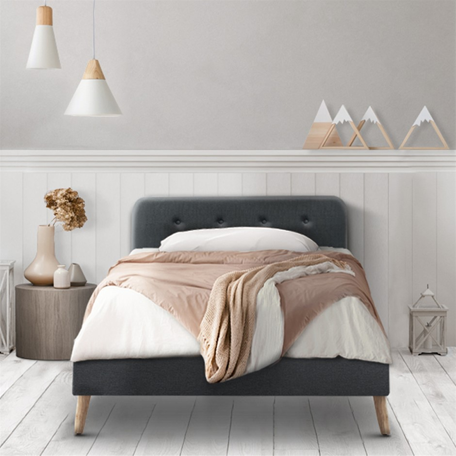 Artiss King Single Bed Frame Base Mattress Leather Wooden Charcoal POLA