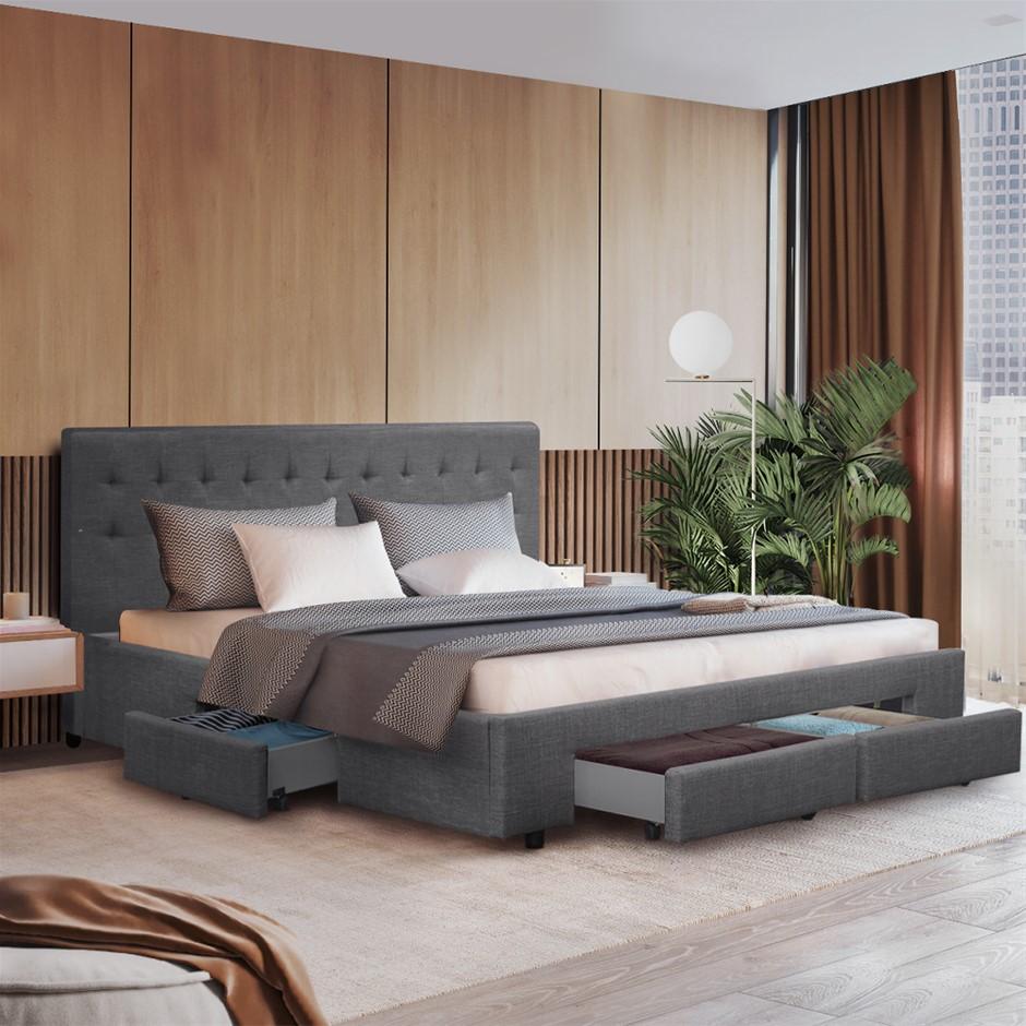 Artiss King Size Bed Frame 4 Storage Drawers AVIO Fabric Headboard Wooden