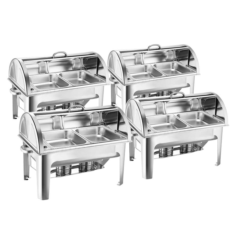 SOGA 4X Stainless Steel Roll Top Chafing Dish 2*4.5L Dual Trays Food Warmer